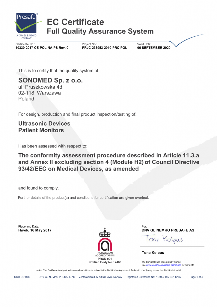 Full Quality Assurance System Certificate